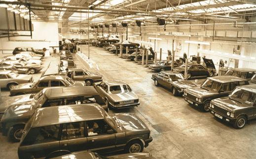 Garage full of vintage cars.