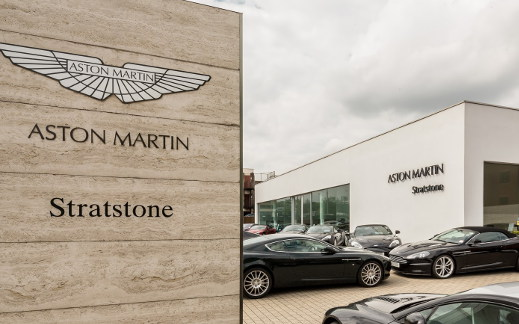 Outside Stratstone's Aston Martin showroom.