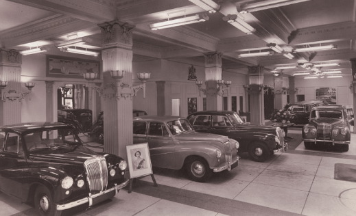 View of the Stratstone showroom in the 1960's.