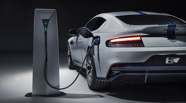 Aston Martin E Rapide being charged.