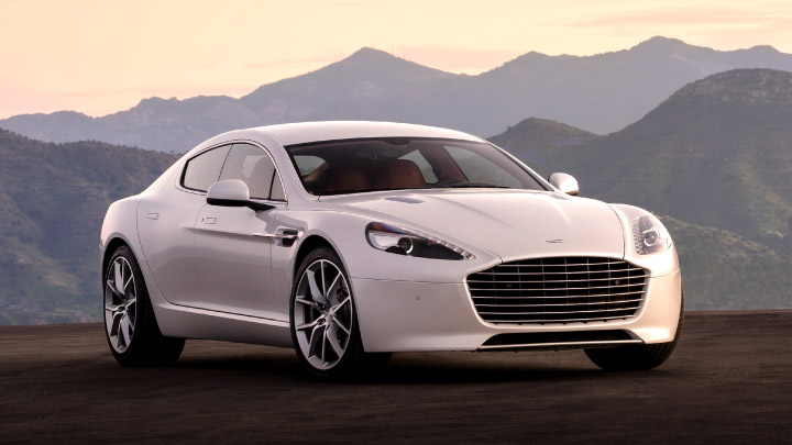 Aston Martin Rapide S in white parked up.