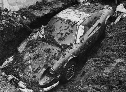 Ferrari Dino 246 GTS buried in 1978.