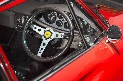 Inside the Ferrari Dino 308 GT4.