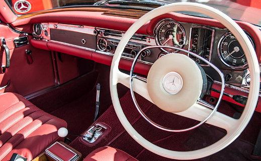1967 Mercedes-Benz 250 SL interior.