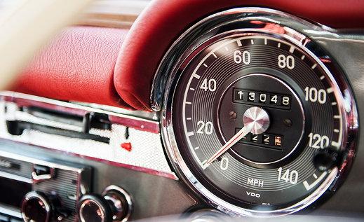 Mercedes-Benz 250SL California Coupe speedometer.