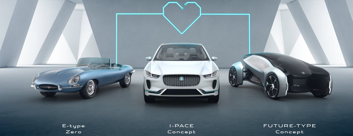Electric Jaguars, E-Type Zero, I-Pace and Future-type.