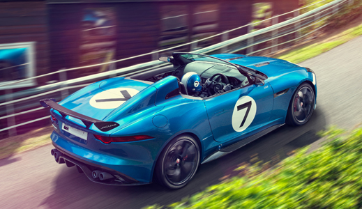 Blue Jaguar F-Type Project 7 (2015) driving.