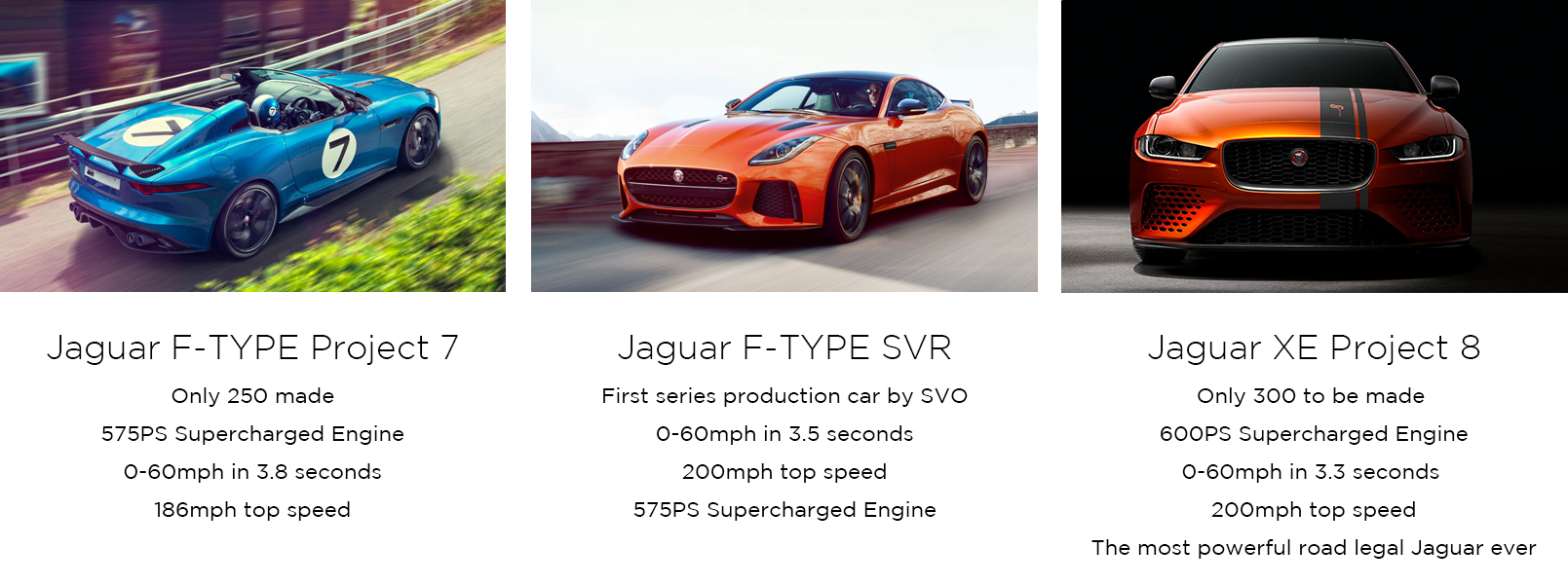 Jaguar statistics: F-Type Project 7, SVR and XE Project 8.