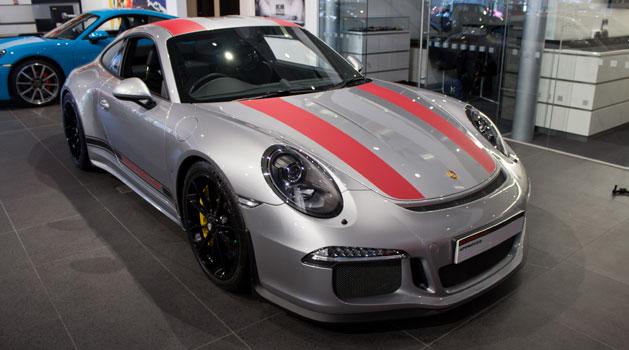 Grey Porsche 911 R in the Wolverhampton Porsche centre showroom.