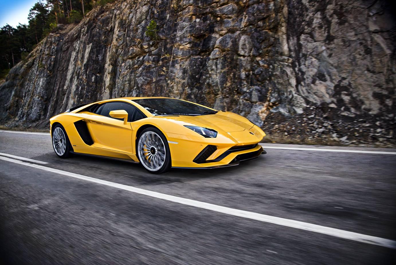 Yellow Lamborghini Aventador S.