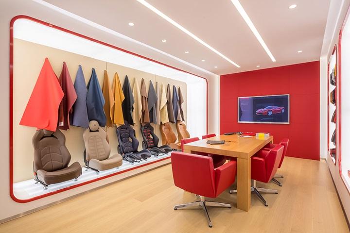 Inside the Ferrari customisation room.
