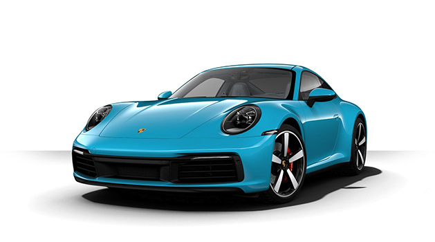 Blue Porsche 911 Carrera S front view.