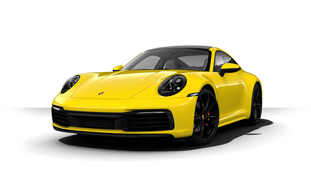 Yellow Porsche 911 Carrera S exterior.