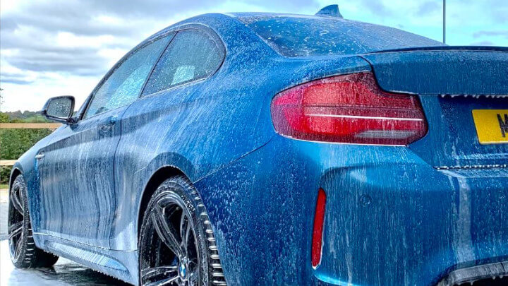 BMW M2 being washed
