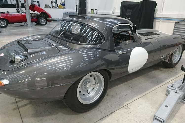 Grey Lightweight E-Type rear view.