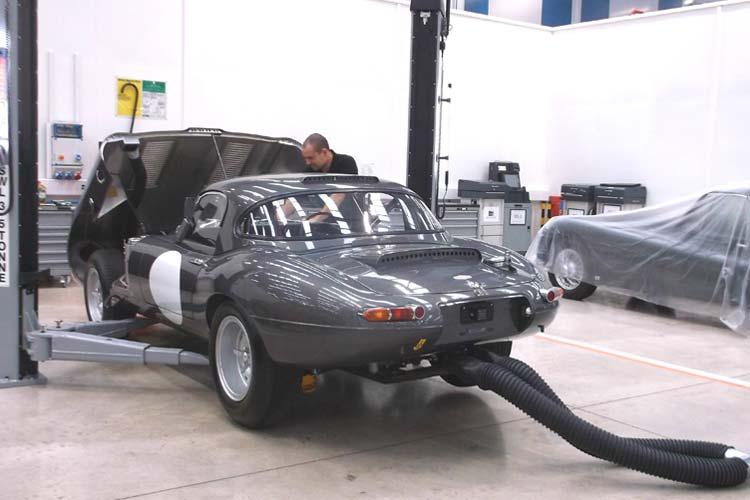 Jaguar Lightweight E-Type being serviced.