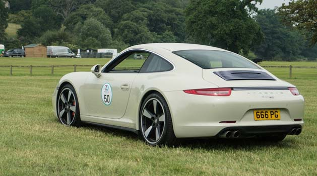 Rear view of the Porsche 911 50th Anniversary Edition.