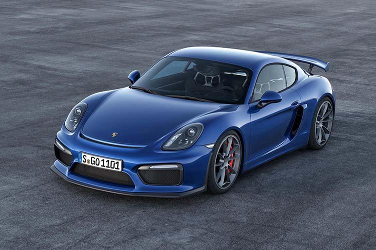 Blue Blue Porsche GT4 parked.