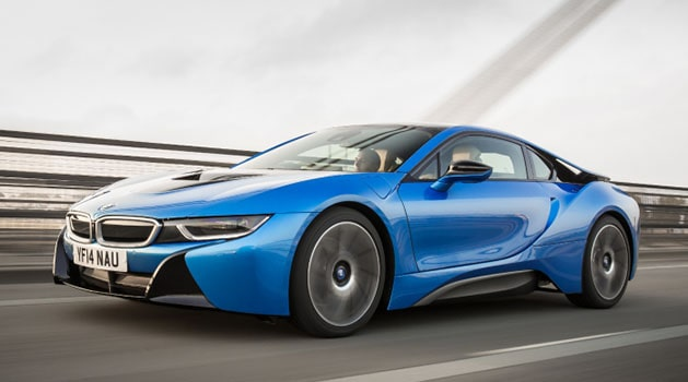 Blue BMW i8 on the road.