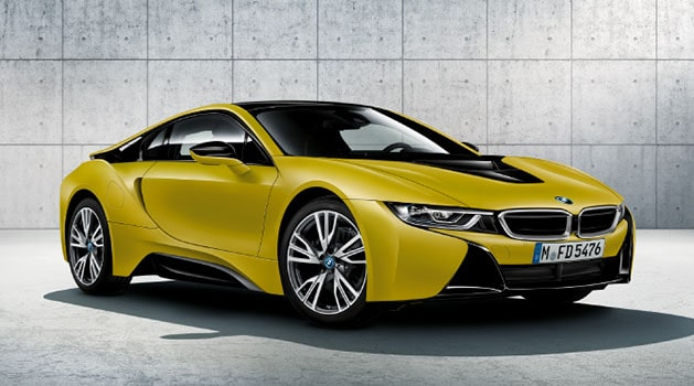 Yellow BMW i8.
