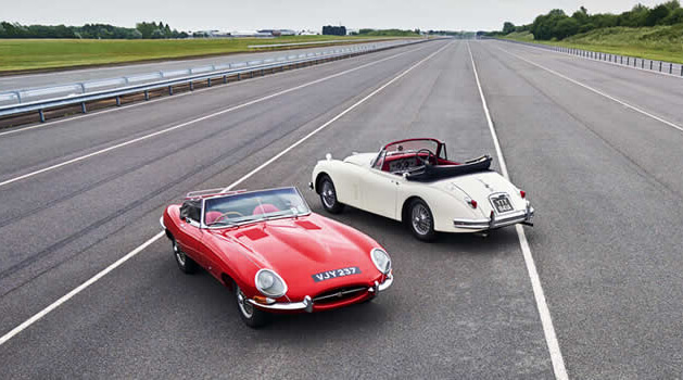 Jaguars on the track at the Jaguar Classic Sports Car Experience.