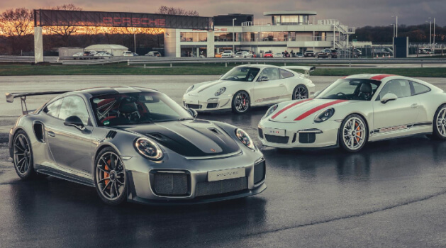 Three Porsches at the Porsche Experience Centre Silverstone.