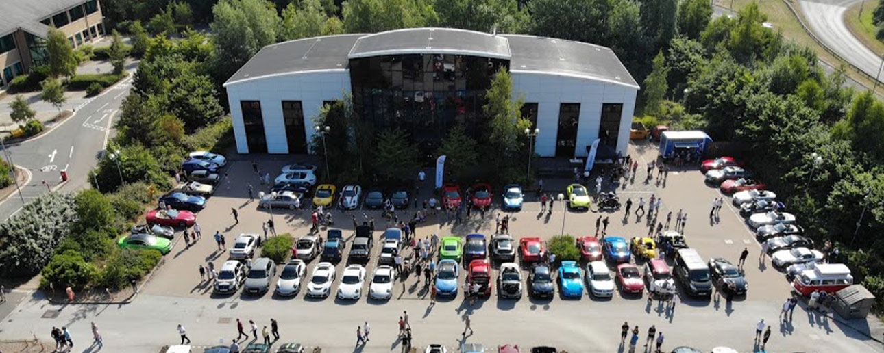 Pendragon PLC car park ready for Car Cafe.