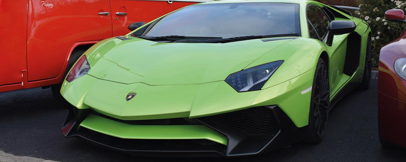 Green Lamborghini Aventador SV.