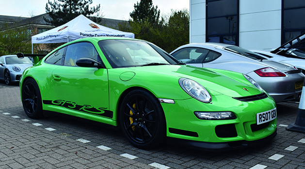 Green Porsche 911 (997) GT3 RS at Car Cafe, Pendragon PLC.