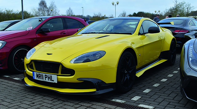 Yellow Aston Martin Vantage GT8 at Car Cafe, Pendragon PLC, Annesley.