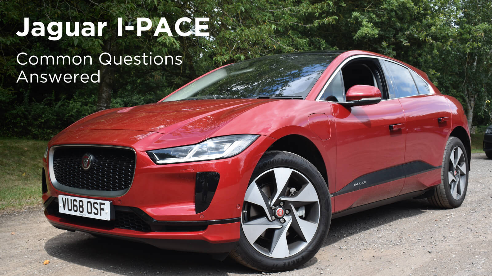 Red Jaguar I-PACE in Countryside