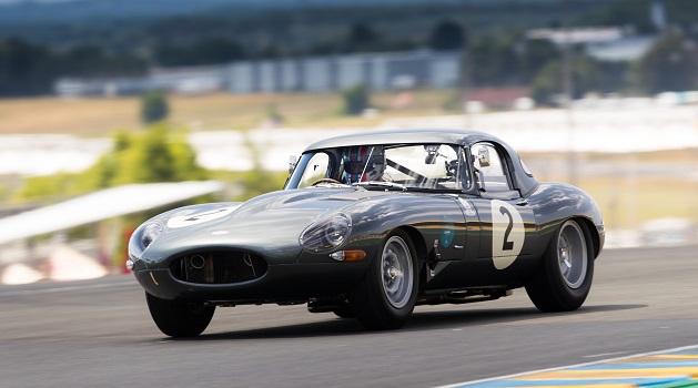 Jaguar Lightweight E-Type on the track.