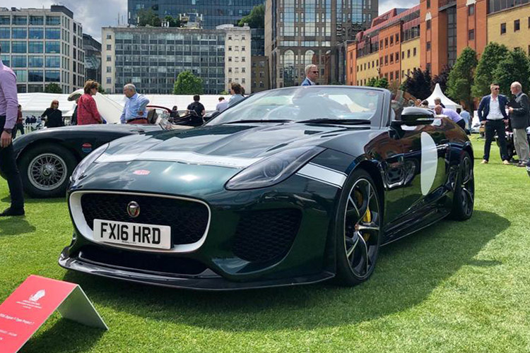 Jaguar Project 7 in British Racing Green at London Concours 2019.