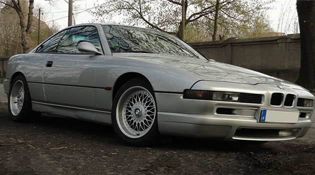 Grey BMW 850C Si (1993) parked up.