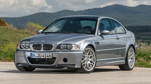 Grey BMW 'E46' M3 (2000) parked in the countryside.