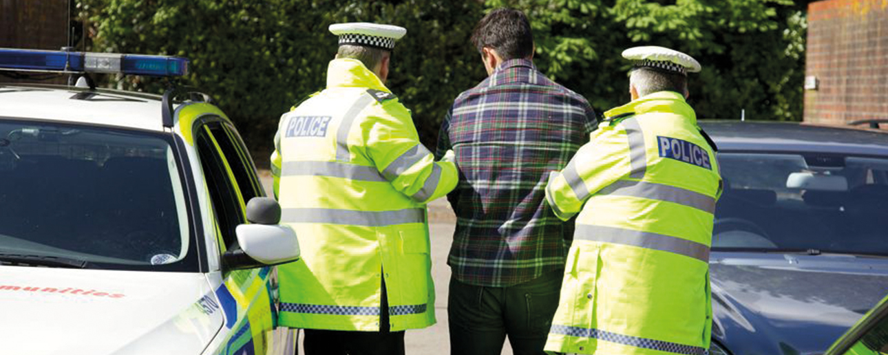Police arresting a citizen.