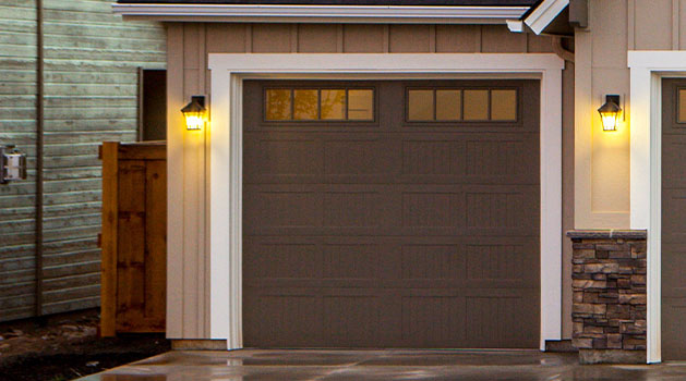 Brown garage door.