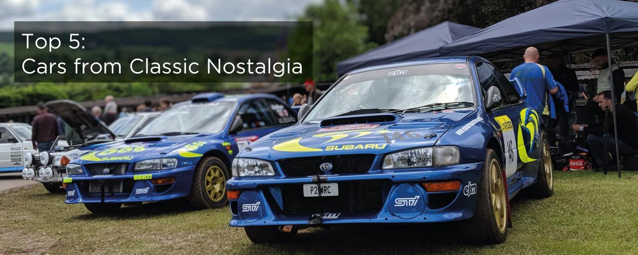 Two blue Subaru's at Classic Nostalgia, Shelsley Walsh.