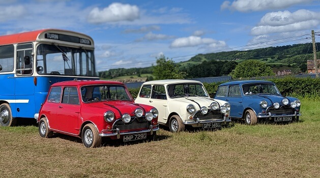 Replica MINIs from 'The Italian Job' at Classic Nostalgia, Shelsley Walsh.
