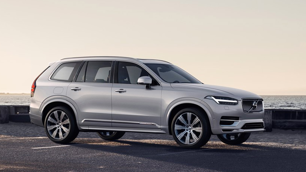 Silver Volvo XC90, parked