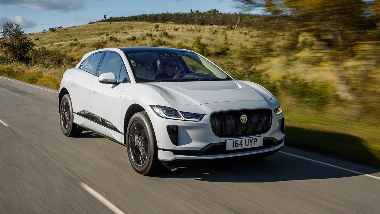 jaguar i-pace driving on country road