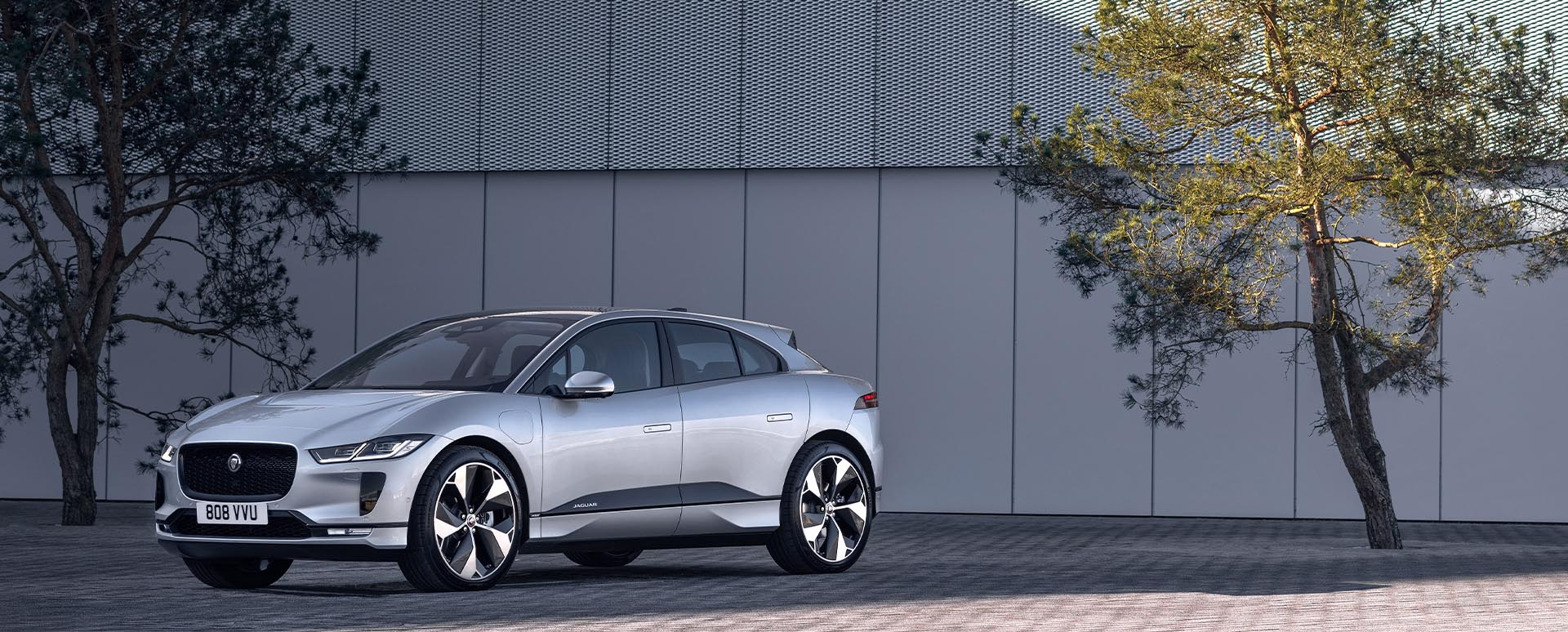 jaguar i-pace parked in front of tree
