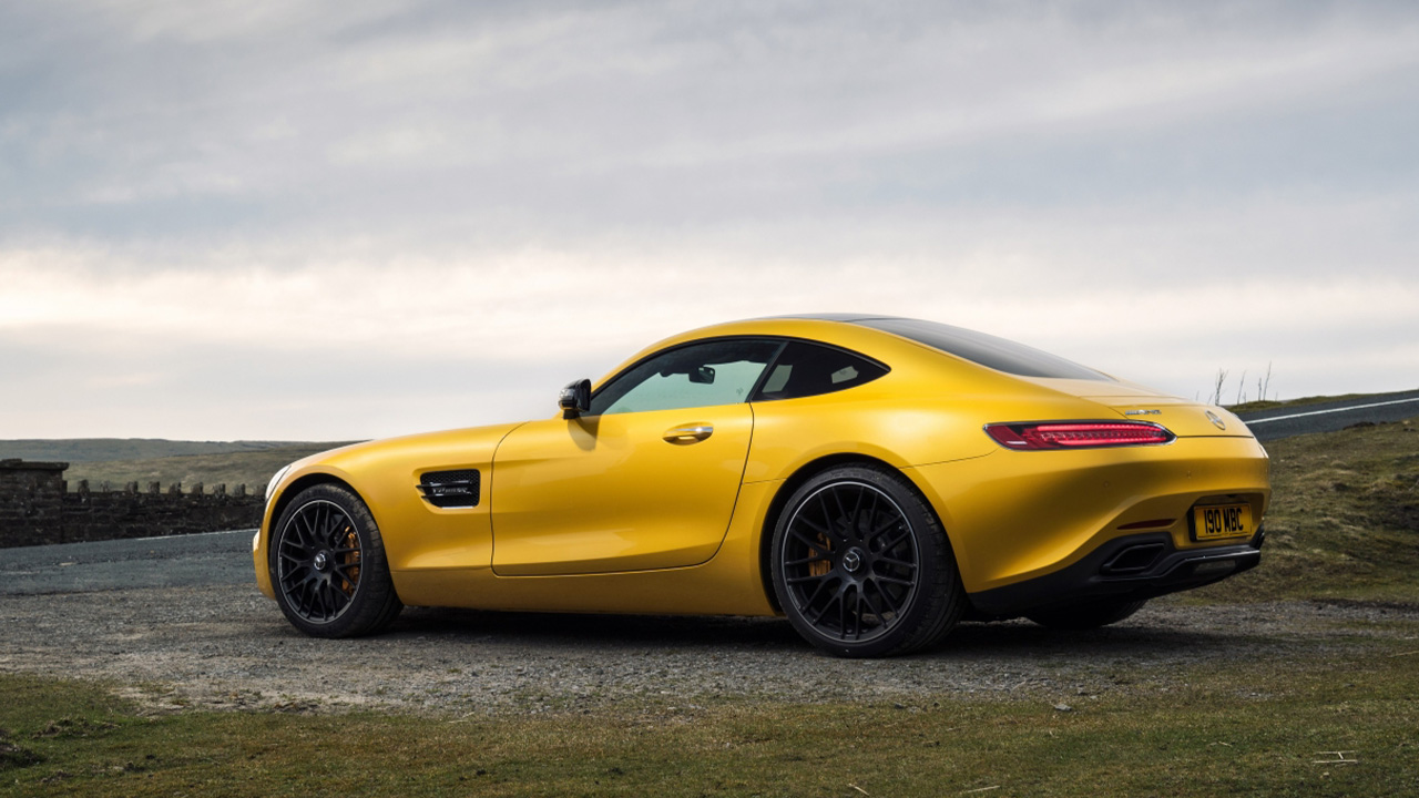 Yellow Mercedes-AMG GT, parked, rear