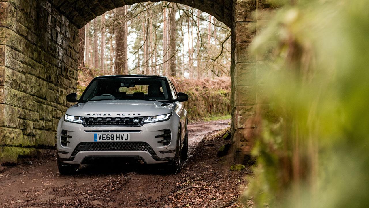 White Range Rover Evoque, parked in tunnel