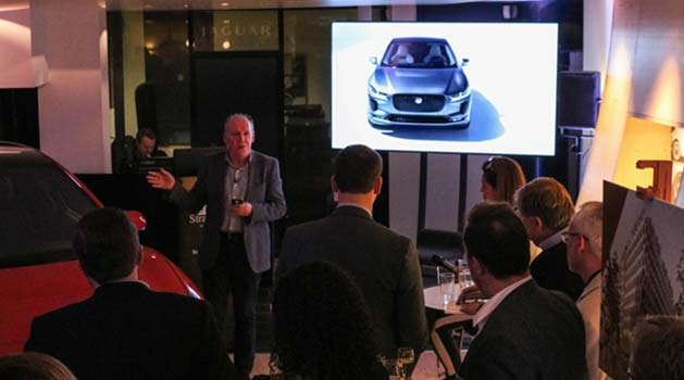 Ian Callum presenting Electrified Future at Stratstone Jaguar in Mayfair.