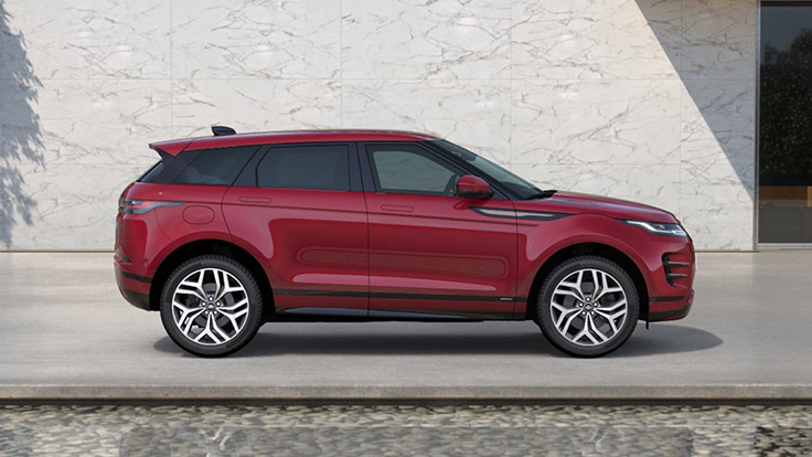 Side view of the Firenze Red R-Dynamic HSE Evoque.