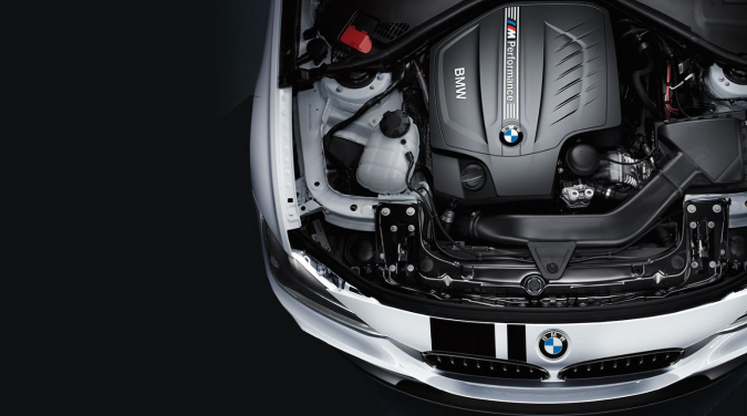Under the hood of a BMW.