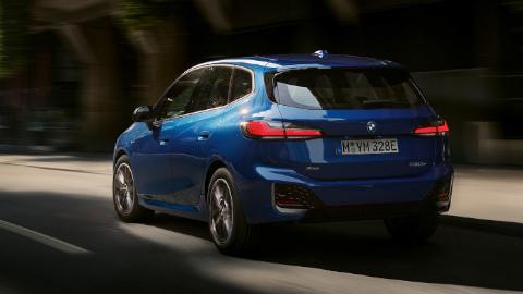 Blue BMW 2 Series Active Tourer Driving Rear