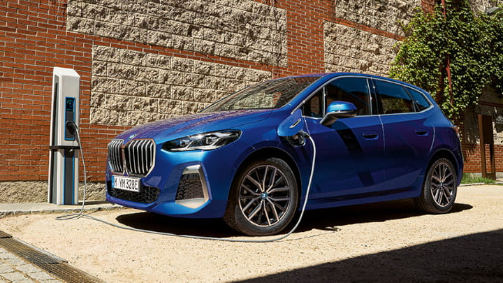 Blue BMW 2 Series Active Tourer Plug-in Hybrid Charging