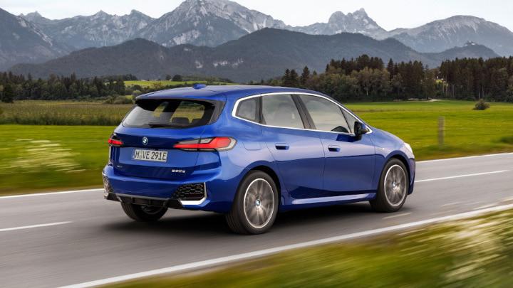 Blue BMW 2 Series Active Tourer Plug-in Hybrid Driving Rear